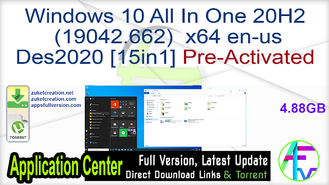 Windows 10 All In One 20H2 (19042.662) x64 en-us Des2020 [15in1] Pre-Activated