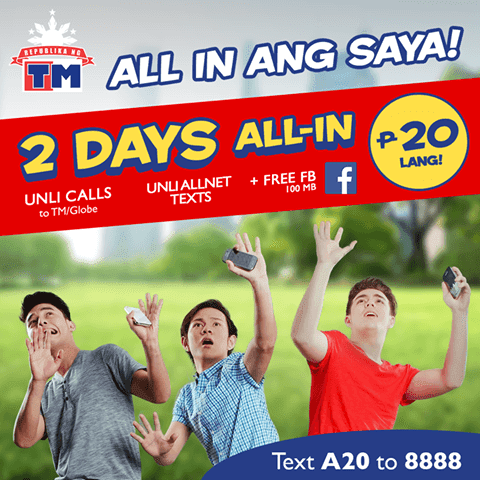 TM ALLIN20 or A20 with 2 days Unli Call and Text to All Networks + Free FB