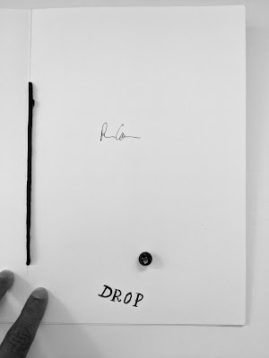 "Last page of the Backbeat Maze Artist Book, the word ""drop"" is toward the bottom of the page."