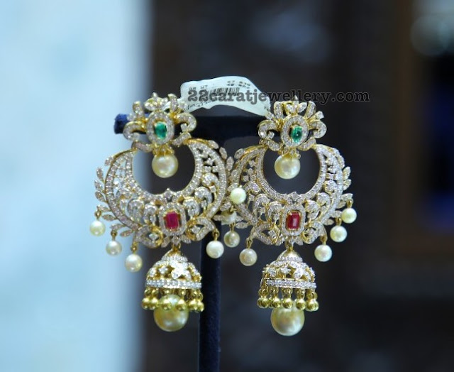 Diamond Chandbali Jhumkas with Pearls