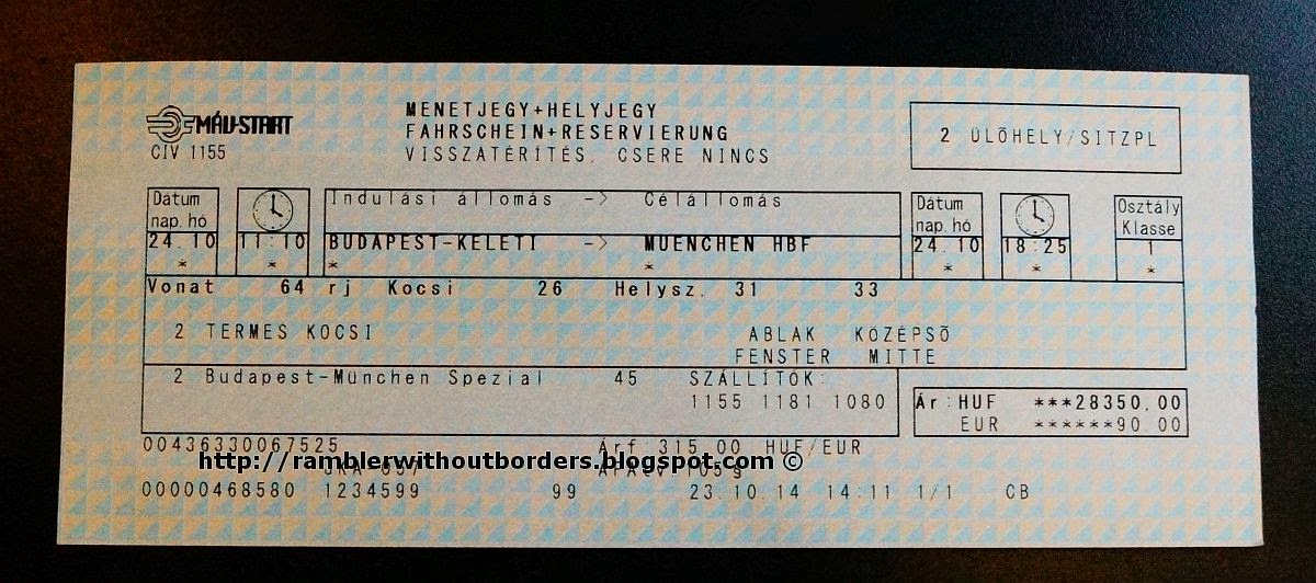 Ticket for OBB Railjet