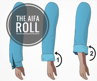 Tutorial on how to roll up your sleeve in Aifa roll.