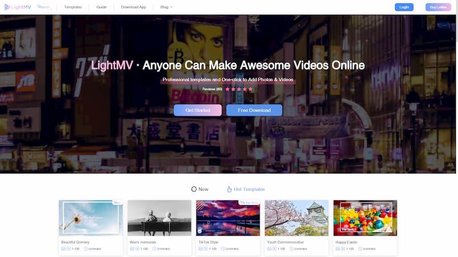 لقطة شاشة لموقع lightmv لـ تصميم فيديو اونلاين و تصميم فيديو للاندرويد