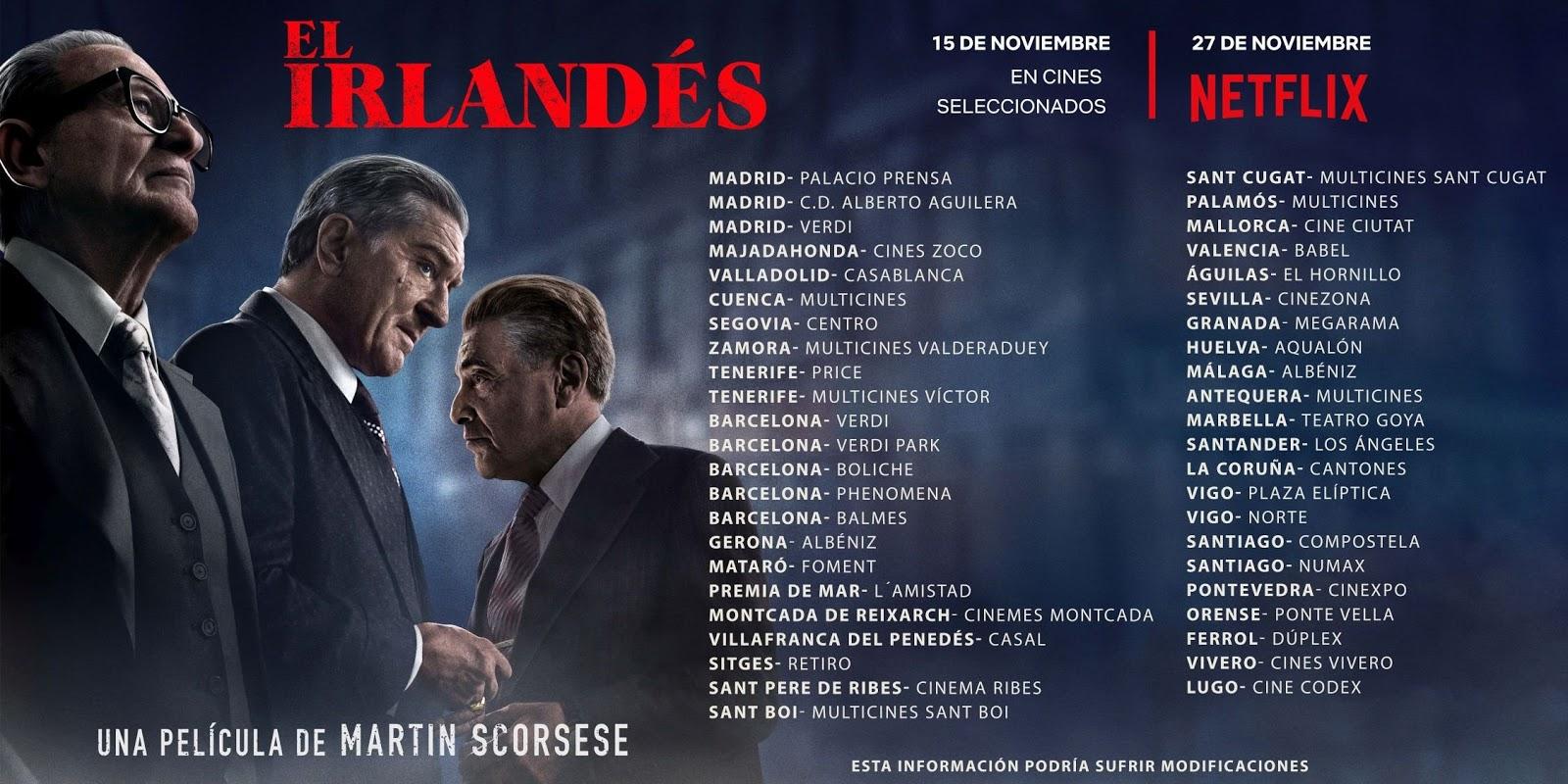 El Irlandes cines de Madrid, Barcelona y el resto de España