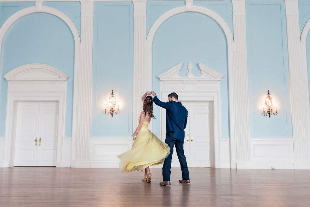 Beauty and the Beast styled shoot wedding dance