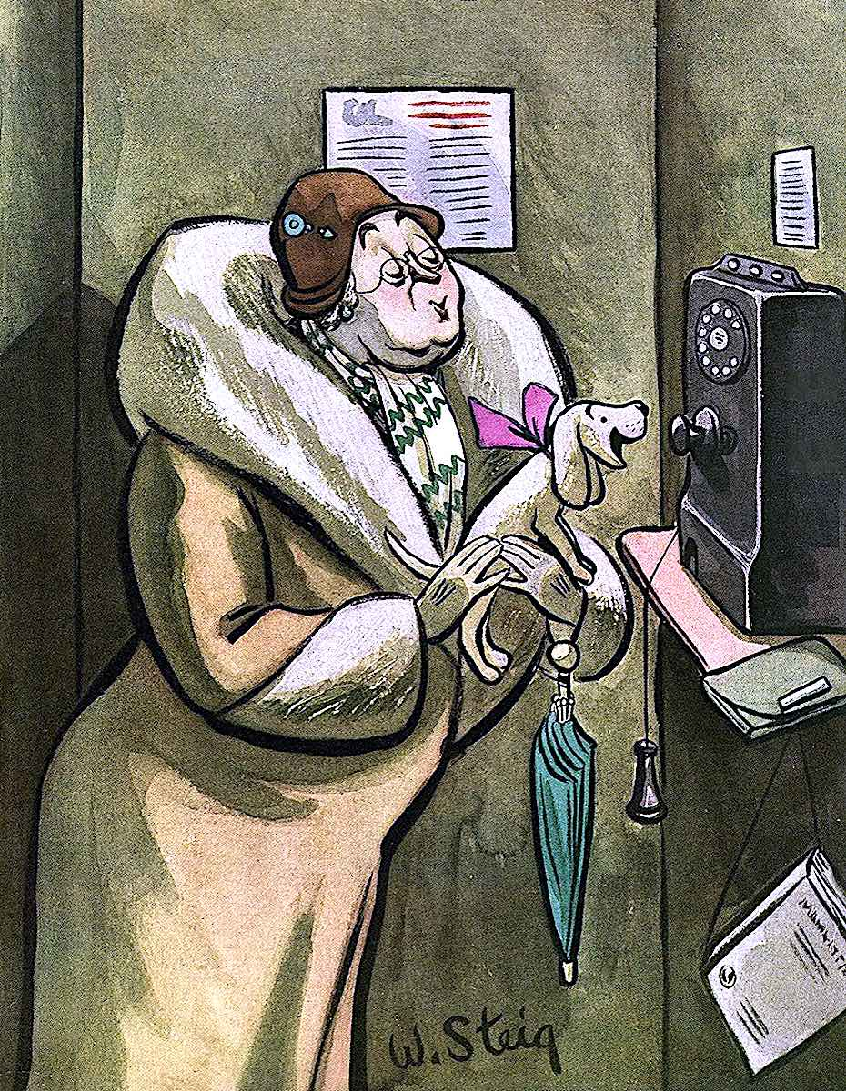 a William Steig cartoon illustration of a dog and telephone