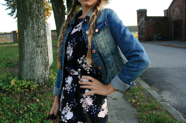 Jeans jacket and flower dress