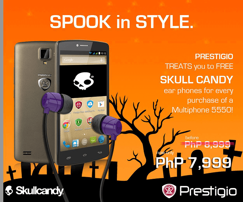 Great Deal Alert! The Prestigio Multiphone 5550 Duo Is 1000 Pesos Cheaper And You Get A Free Skullcandy Earphone!