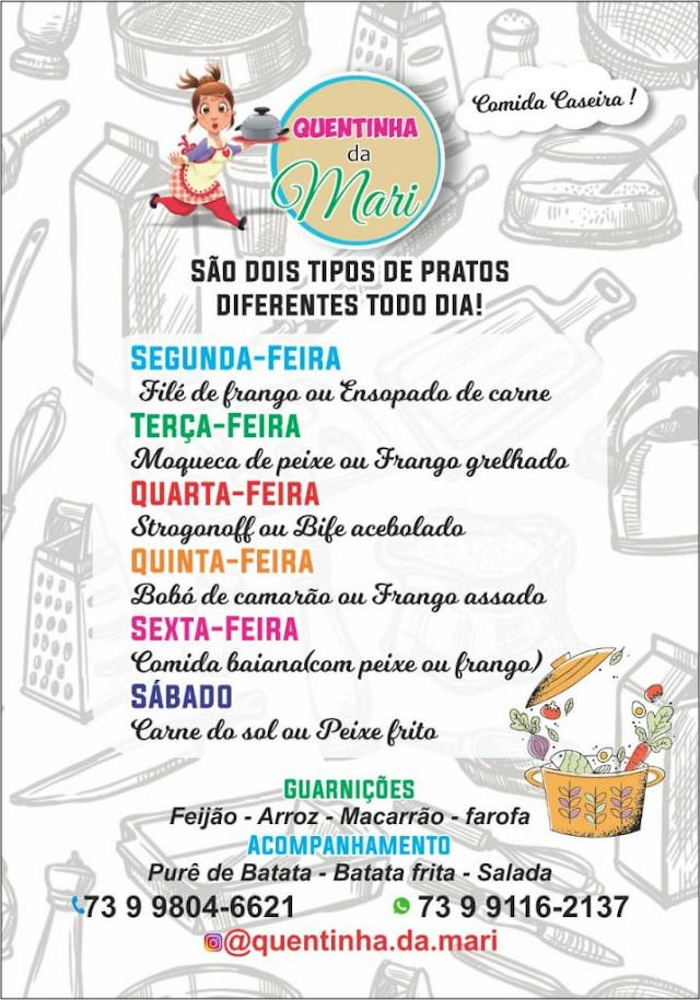 Quentinha da Mari, comida Caseira, dois tipos de pratos diferentes todo dia