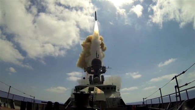 Russian warships launches state-of-the-art Kalibr-NK cruise missiles in Caspian Sea