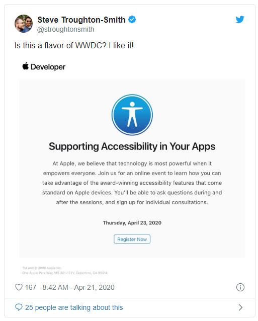 蘋果密邀開發者參加 iOS 14 應用輔助功能會議