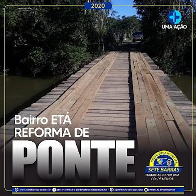 Prefeitura  de Sete Barras reforma Ponte no Bairro Etá