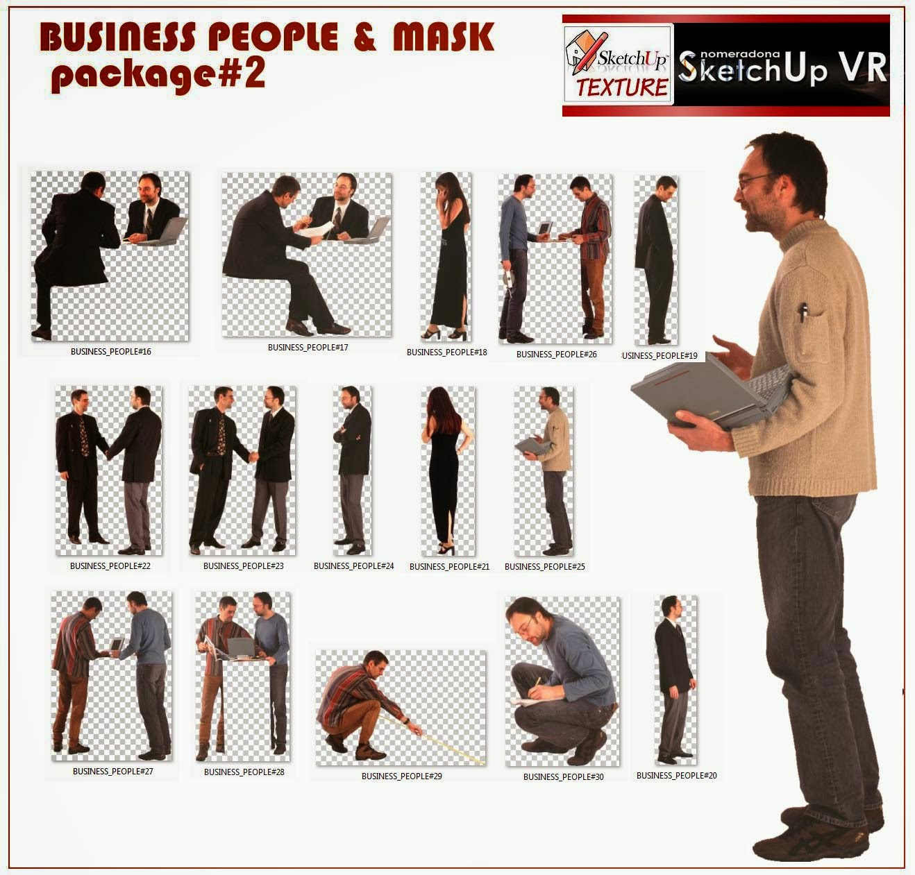 sketchup texture cut out business people package 2