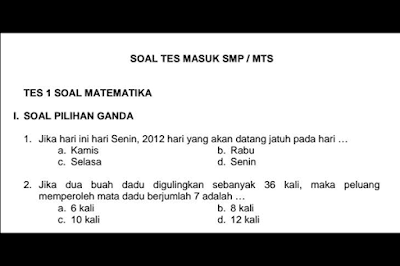 Soal dan Kunci Jawaban Tes Seleksi Masuk SMP/MTs