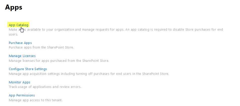 sharepoint online app catalog url
