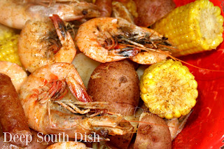 A flavorfully seasoned boil mix to use for a smaller batch of 1 to 2 pounds of jumbo shrimp, with sausage, potatoes and corn.
