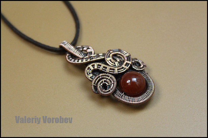 Wire Wrapped Pendant. Handmade copper jewelry.