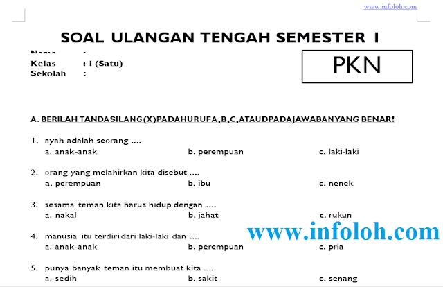 Soal UTS PKN Kelas 1 SD Semester 1 Ganjil Dan Kunci Jawaban Terbaru