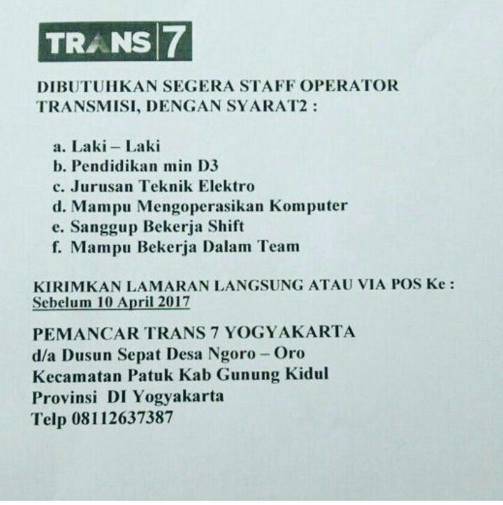 Lowongan Kerja TRANS7 Gunung Kidul Yogyakarta