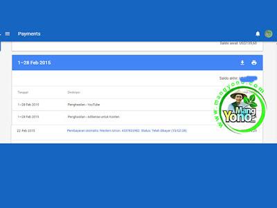 Pembayaran Google Adsense bulan Pebruari 2015