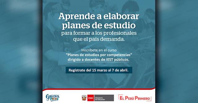 MINEDU: Curso Virtual «Planes de Estudios por Competencias - Conceptos Iniciales» www.minedu.gob.pe