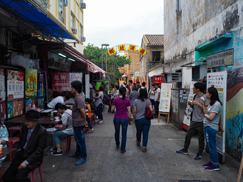 People on shopping street on Cheung Chau island, Hong Kong