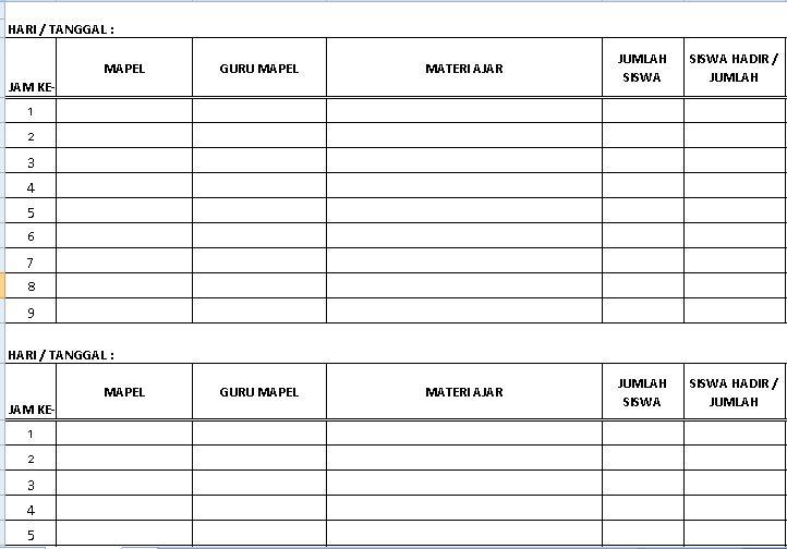 Contoh Format Jurnal Kelas Semua Jenjang Sekolah Tahun Ajaran 2016-2017 dengan Microsoft Excel