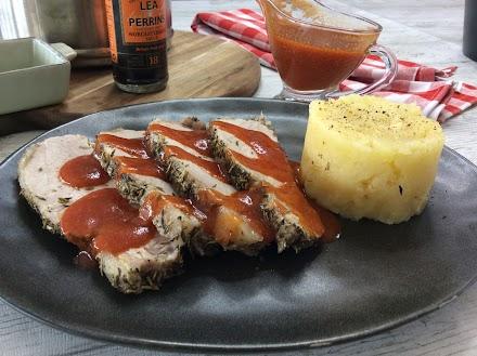 Lomo de cerdo a la sal con salsa inglesa en Vaporcook y Fussioncook