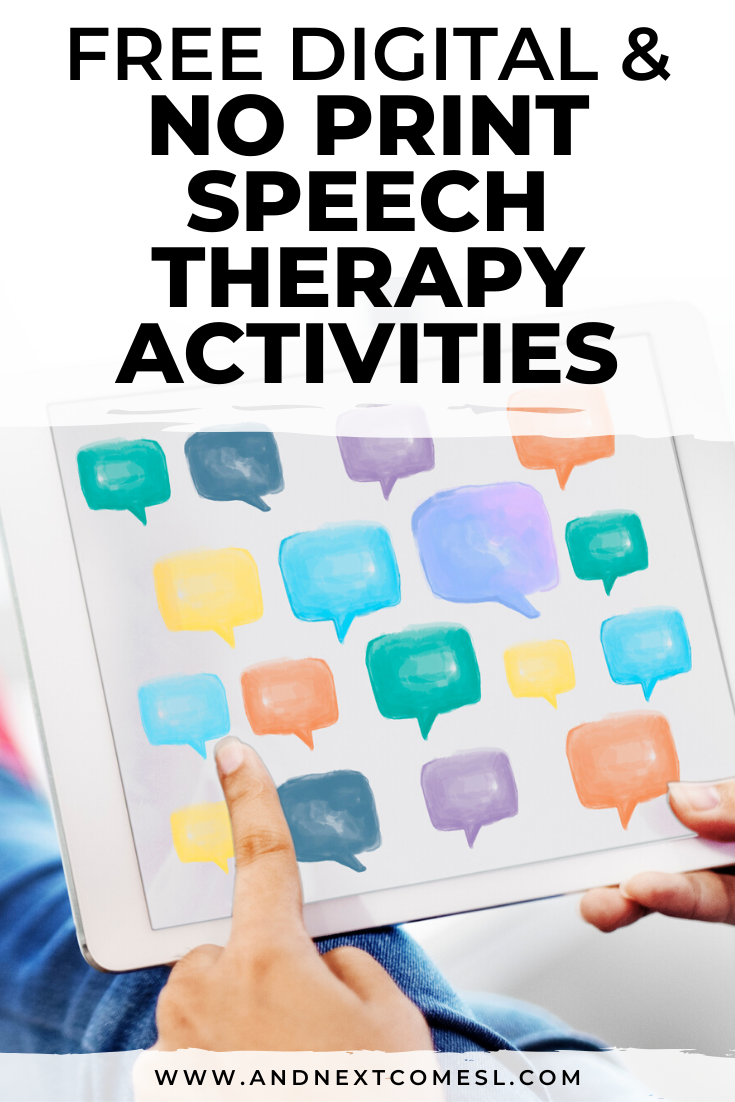 Free no print speech therapy materials and Boom Cards that you can use for teletherapy or Zoom meetings