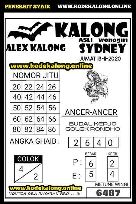 Prediksi Kalong Sidney Jumat 13 November 2020