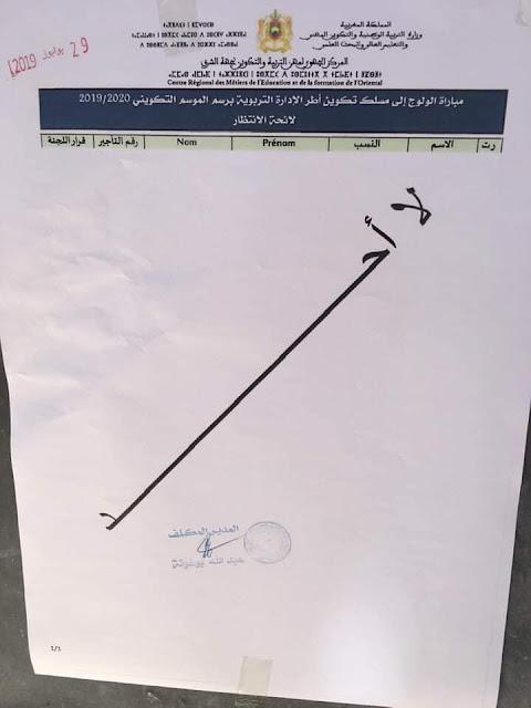النتائج النهائية لمباراة ولوج مسلك تكوين أطر الإدارة التربوية جهة الشرق يونيو 2019