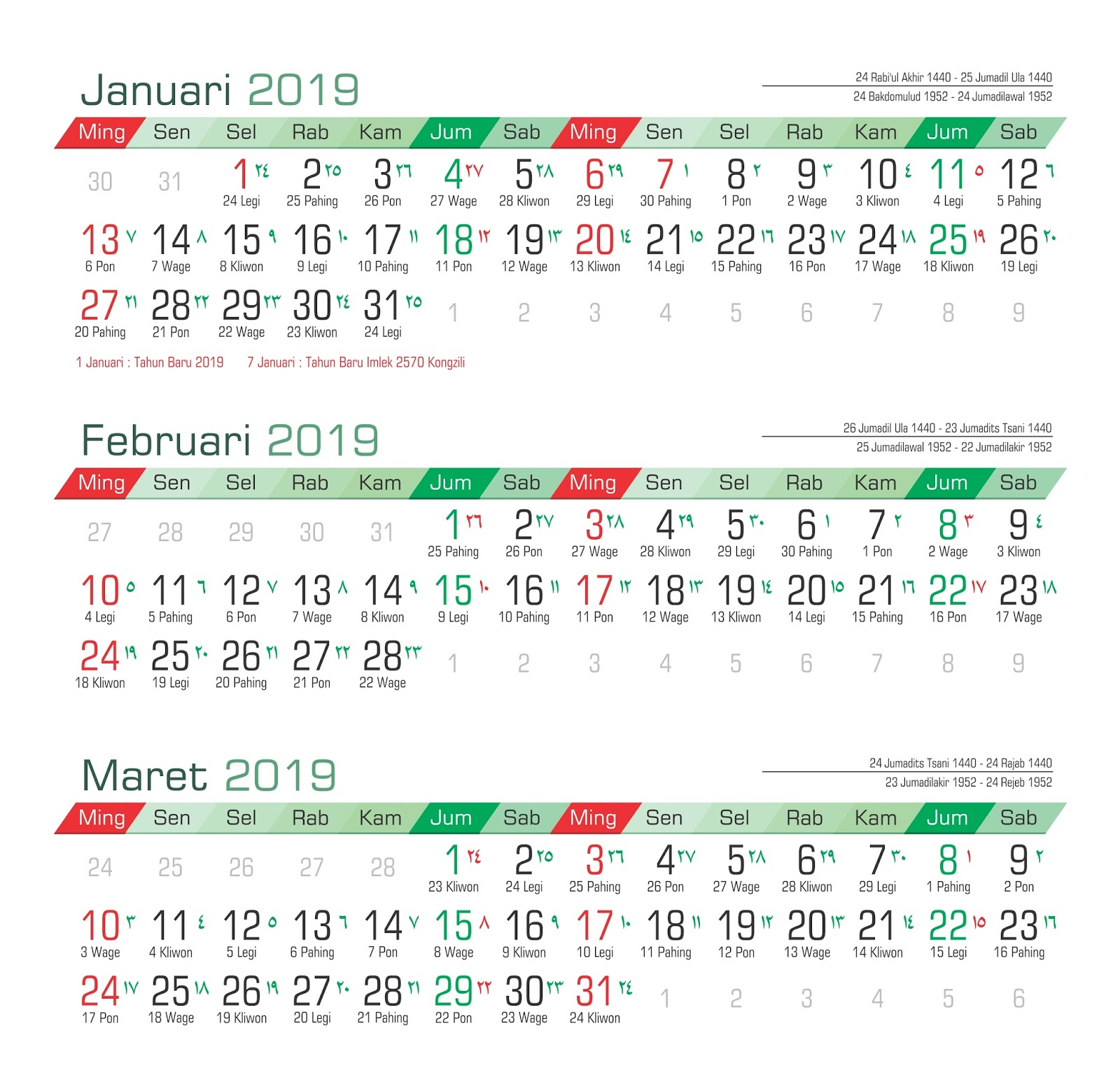 Koleksi Template kalender 2019 PSD Adobe Photoshop