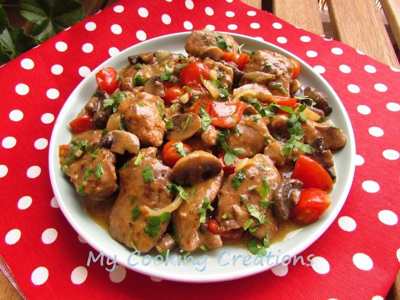 Пилешки дробчета Форестър с домати и гъби * Fegatini di pollo ai funghi e pomodori