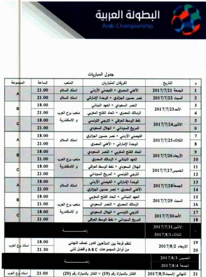 جدول مواعيد مباريات البطولة العربية للأندية 2017 كاملة والقنوات الناقلة مجانا للبطولة