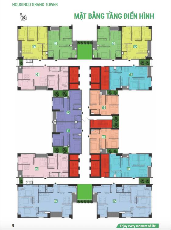 Mặt bằng tầng căn hộ điển hình Housinco Premium