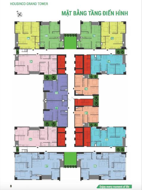 Mặt bằng tầng căn hộ điển hình Housinco Grand Tower