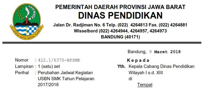 JTPedia: Revisi Jadwal USBN - Perubahan Jadwal USBN - Surat Edaran No 422.1/6370-BPSMK Dinas Pendidikan Pemerintah Jawa Barat Tentang Perubahan atau Revisi Jadwal USBN SMK Tahun 2018