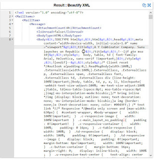 A screen shot of a xml file containing email content.