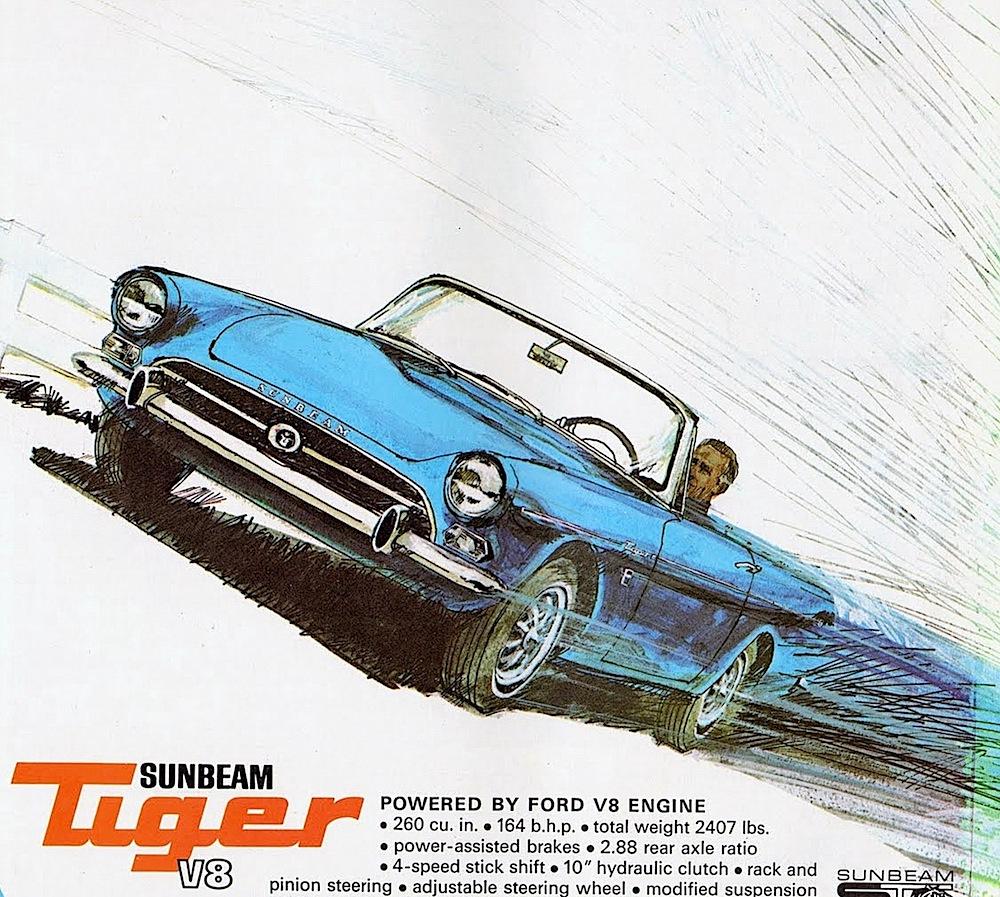 a 1965 Sunbeam Tiger magazine advertisement, blue