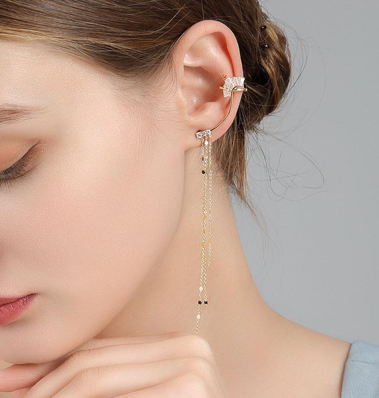 不對稱宴會風仙系水晶流蘇耳環