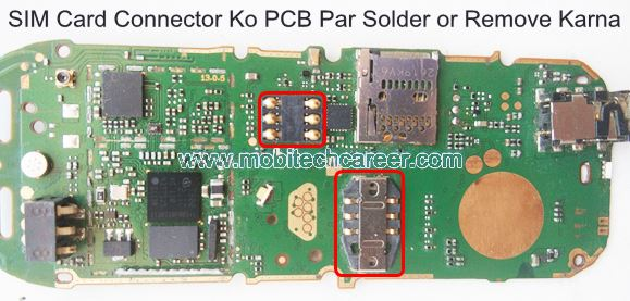 How to solder & remove SIM Card connector socket on pcb of a mobile cell phone in mobile phone repairing in hindi