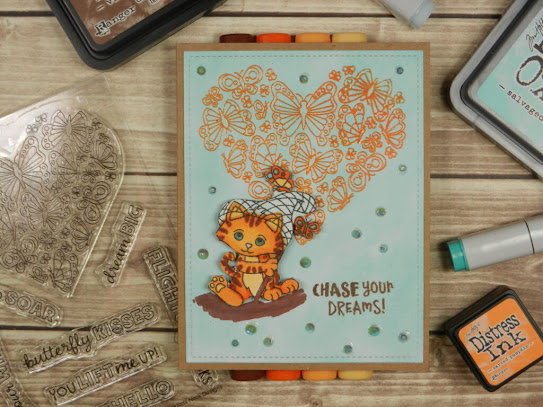 Chase your dreams by Annette features Captivated Kittens and Heartfelt Butterflies by Newton's Nook Designs; #inkypaws, #newtonsnook, #catcards, #cardmaking