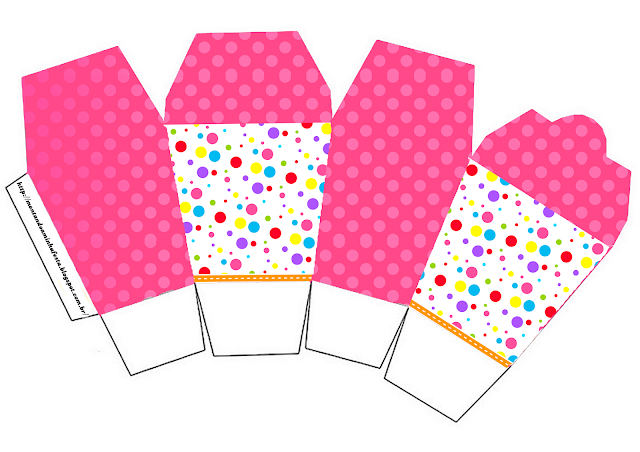 Colored Dots for Girls Free Printable Chinese Take Away Box.