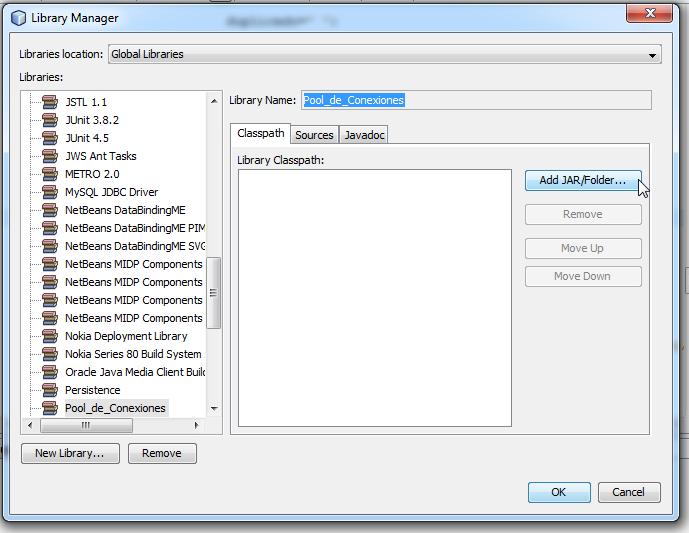 Clic en el botón add jar/folder de la ventana library manager