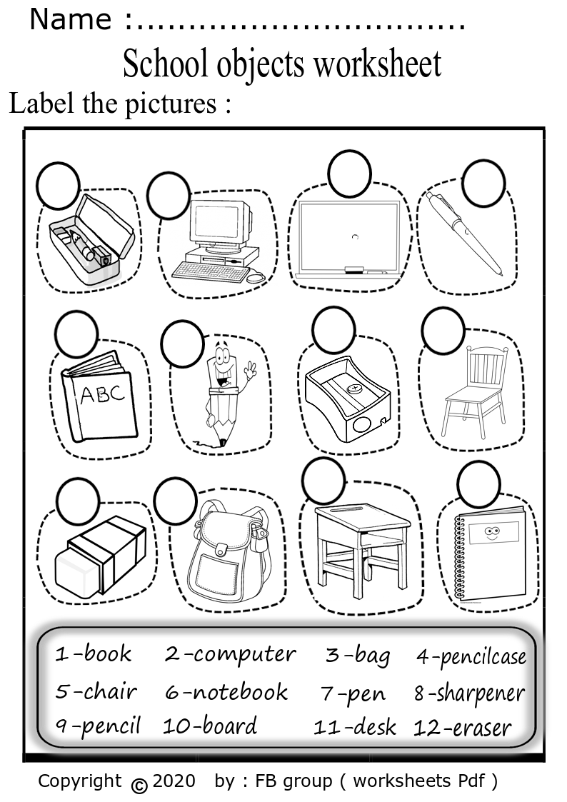 Download (School objects worksheet ) high quality pdf file