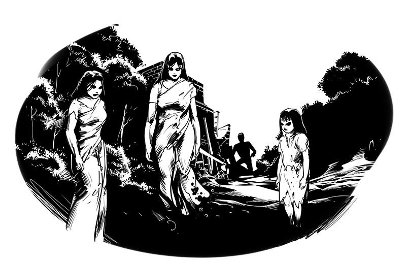 horror illustration three floating female dead ghosts