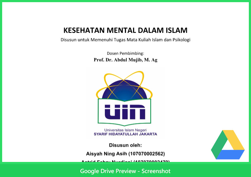 Contoh Makalah Agama Tentang Kesehatan Mental Dalam Islam