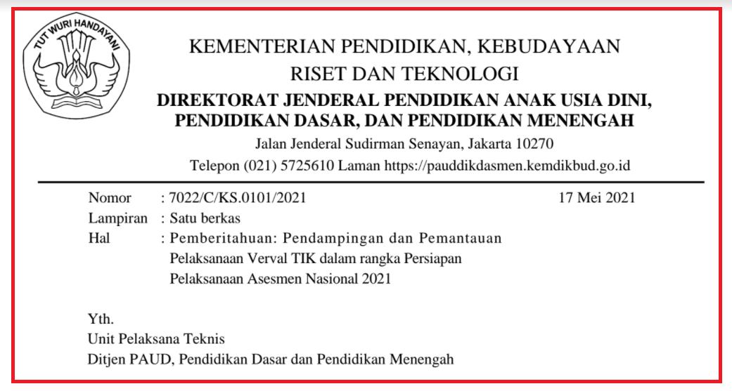gambar surat edaran verval tik 2021