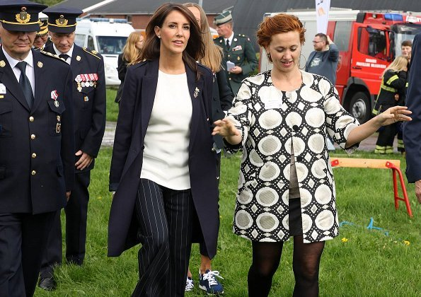 Princess Marie attended Danish Emergency Management Agency's 40th anniversary events in Gråsten. wore coat and trousers