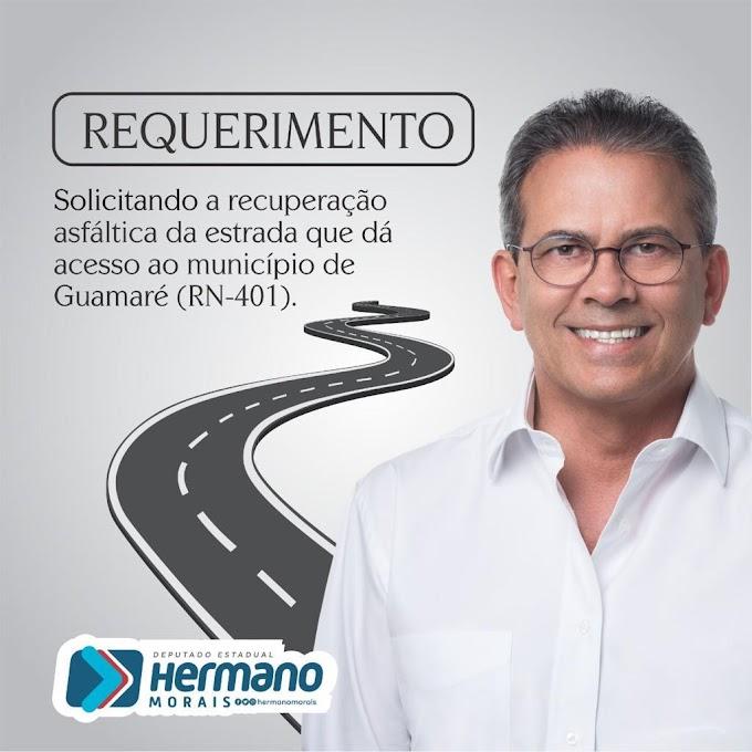 Deputado Hermano solicita ao DER a recuperação asfáltica da RN 401, que ligar a BR-406 a Guamaré